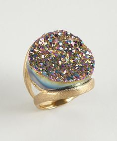 Druzy rainbow ring. I want this so bad.