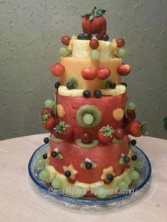 "Fresh Watermelon Cake | Fresh watermelon and fruit ""cake"""