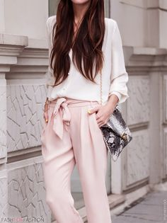 Feel chic in fall workwear that's great for the office or date night! We're loving trousers in comfy materials and flattering fits. pastel, trousers fashion, silk trouser, blush pants, soft pink, fashforfashion, pink trousers, blush pink, street style fashion