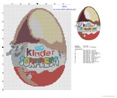 Kinder Surprise Kinder Egg cross stitch pattern height 100 stitches (click to view)