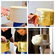 How to 'GOLD LEAF' your cake - a tutorial from Topsy Turvy, complete with photos, tips and guidelines: http://www.imtopsyturvy.com/gold-leaf-wedding-cake/