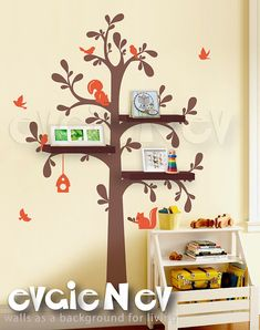 Floating Shelves Tree Wall Decal with Birds and Squirrels -Nursery Wall Decals - Tree Wall Sticker - TRFS010