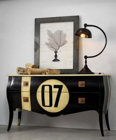 7 is a lucky number... game rooms, ball, pool, numbers, painted dressers, willow, furniture, design, chest of drawers
