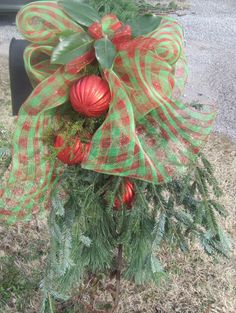 This festive Green & Red Plaid Deco Mesh Bow with over-sized Red Ornaments backed by Fir and Evergreens makes this a wonderful Christmasy welcome - Christmas Mailbox