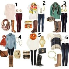 Casual Outfit Ideas | Easy casual outfit ideas. | My Style. Now I only need 6 different pair of boots. Fall Outfit Ideas, Fall Clothing, Fall Clothes, Fall Style, Fall Outfits, Fall Boots, Fall Fashion, Teen Clothing, Boot Outfits