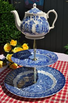 Tea Time Quirky Vintage Blue and White Cake Stand with Teapot Top tea time, teapots, teas, cake stands, afternoon tea, willow, white cakes, blues, parti