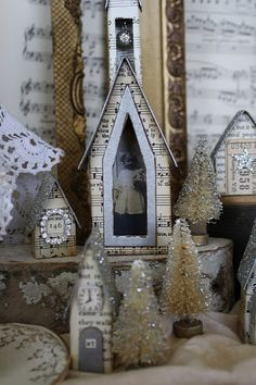 Vintage sheet music and book paper village