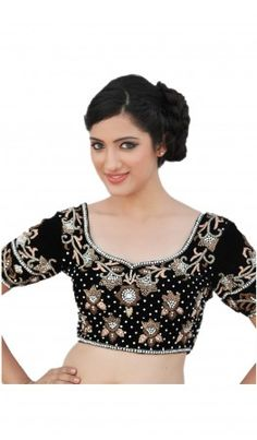 A black velvet hand embroidered Saree Blouse Designs give traditional look. For more detail visit http://www.kbshonline.com/