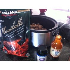 meatballs In the crockpot for 2 1/2 hours on high with grape jelly and BBQ sauce