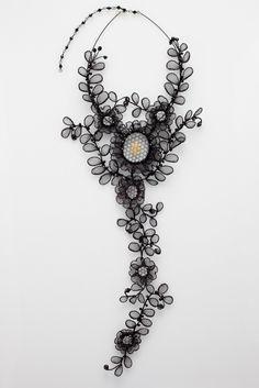 Chantilly Necklace - Lenka Suchanek - 250 x 480 x 30 mm Neckpiece: bobbin lace using black enamelled copper wire w...