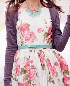bow belt, floral print dress, and purple cardi