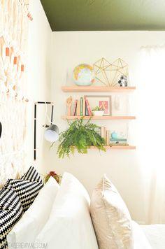 diy shelving for bedroom, floating shelves, bedroom shelves, bedroom makeovers, diy boho bedroom, teen girl bedrooms, diy bedroom boho