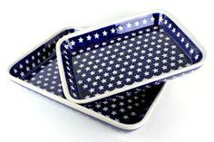 Blue Rose Polish Pottery: Stars Rectangular Baker Set