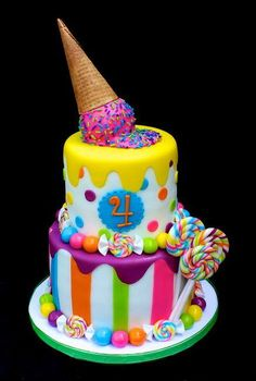Sweets Cake @Jodi Wissing Wissing Wissing Wissing Wissing Wissing, how about something like this but add the chevron in there? sweet treats, colorful cakes, candy land theme, ice cream cakes, candy cakes, kid cakes, sweet cakes, ice cream cones, birthday cakes