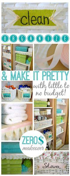 Linen Closet Before and After Zero Budget (shop your home!) Makeover   #organized #closet #linencloset