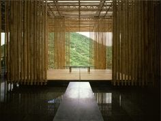bamboo wall, yoga space, interior design, the great wall, architects, houses, architectur, kengo kuma, china