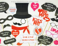 Valentine's Day photo Prop Set PDF Instant download by shoppe3130