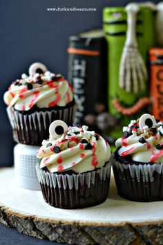 Bake and Destroy's Slasher S'Mores Cupcakes for Halloween. Vegan.