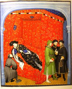 """F. 82. Salmon is Questioned by the King. Paris, c 1414. From """"Illuminating Fashion: Dress in the Art of Medieval France and the Netherlands, 1325-1515."""""""