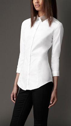 #Burberry London Detachable Contrast Collar Shirt  women blouse #2dayslook #blouse fashion  www.2dayslook.com