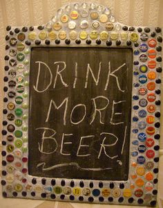 Mosaic Beer Bottle Caps Chalk Board