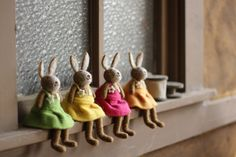 set of four felt rabbits