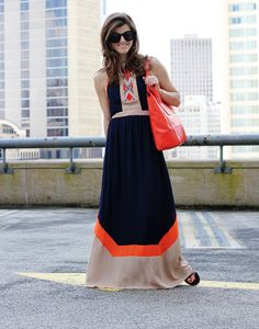Greylin Navy and Orange Maxi