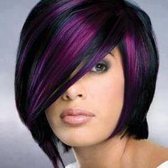 purple hair, hair colors, the color purple, dark hair, black hair, short hairstyles, highlight, summer hairstyles, funky hairstyles