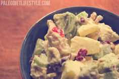 Paleo Chicken Salad With Grapes, Apples And Cranberries