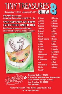 "Invitation to ""Tiny Treasures 8"" - our 8th annual small works show. Show runs through January 31. Look for a board."