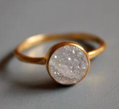white agate druzy gemstone ring