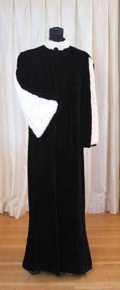 1930's Ermine Fur Trimmed Black Velvet Evening Coat