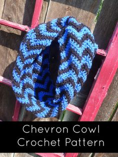 Crochet PATTERN Chevron Cowl or Infinity Scarf