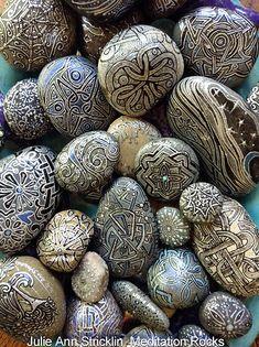 Meditation Rocks hand painted by artist Julie Ann Stricklin