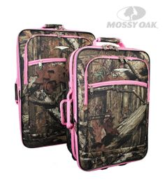 Mossy Oak 2 Piece Rolling Luggage Set in Break-Up Infinity with Pink accents