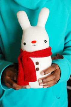 sew a super soft snow bunny plush  // wild olive