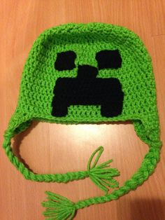 Handmade crochet minecraft hat by GenevieveAccessories on Etsy, $20.00