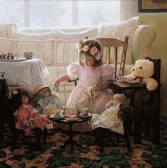 tea parti, tea time, girl room, greg olsen, children, olsen art, cream, friend, sugar