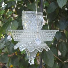 Vintage Cut Glass Elegant Hanging Repurposed Bird by ARTfulSalvage, $43.00