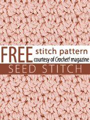 seed stitch, free crochet stitch patterns, free stitch