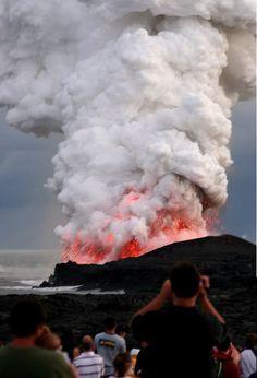 Kilauea volcano in Hawaii erupting in 2008.