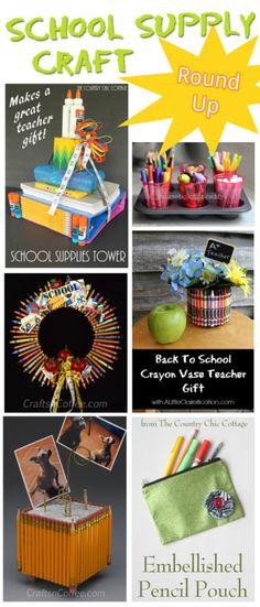 School Supply Crafts Round Up #DIY #Crafts http://www.5minutesformom.com/93677/school-supply-crafts-round-up/ #crafts #backtoschool #BTS