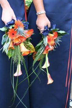 Tangerine & Navy Blue Wedding Day