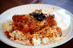 Raising Godly Daughters: One mom's journey: Enchilada Chicken in a Slow Cooker on Brown Rice THM (E)