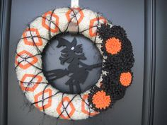 Decorate your front door or window with this Preppy Witch Halloween Wreath. Can be made in different color combinations, for example an all black