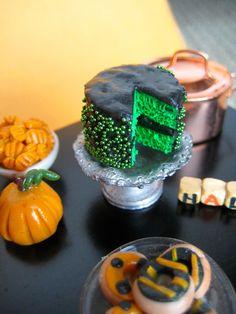 Miniature Food- Frankenstein Halloween Layer Cake. $13.00, via Etsy.