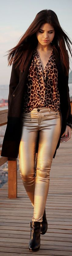 golden jeans, fake leather cardigan and leopard shirt