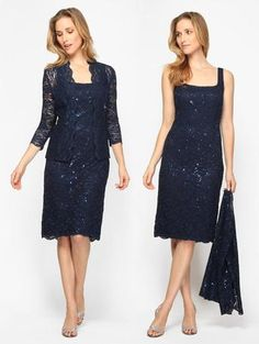 Mother of the Bride Dresses - 112264 Short Mother's Navy Beaded Lace with Jacket