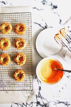 Orange Glazed Baked Funfetti Donuts
