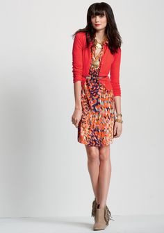 Remember the Fall '12 grey knit henley- they made a printed dress!  CAbi Spring 2013 Collection  Printed Shirt Dress, cardigan in Poppy Red, and metallic thin belt (LOVE!)